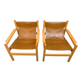 Michel Arnoult Leather Sling Chairs, a Pair For Sale