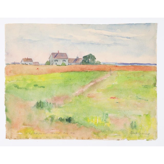 1920s 1921 South Harpswell Maine Egbert Cadmus Watercolor Painting For Sale - Image 5 of 6