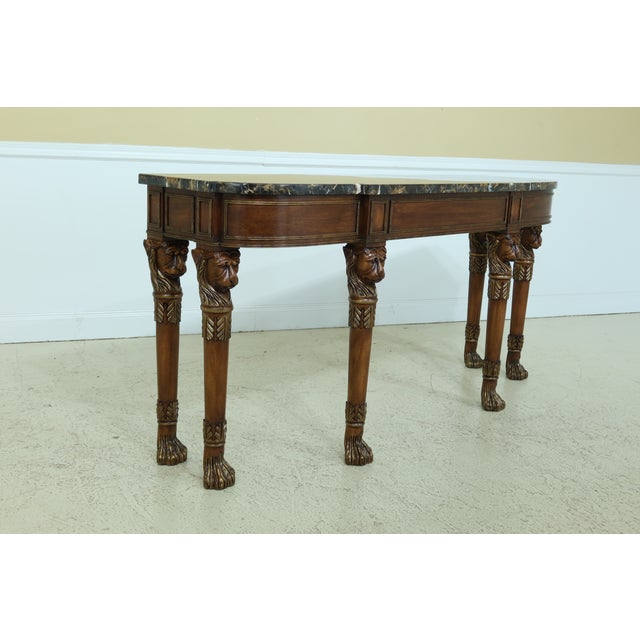 Henkel Harris Lion Head Carved Mahogany Marble Top Console Table For Sale In Philadelphia - Image 6 of 11
