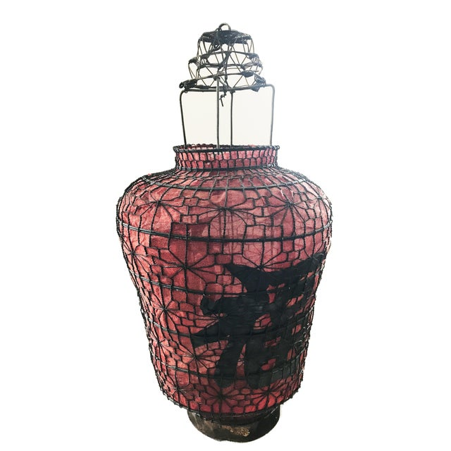 "Old Chinese Red Lanterns 28"" H For Sale In New York - Image 6 of 7"