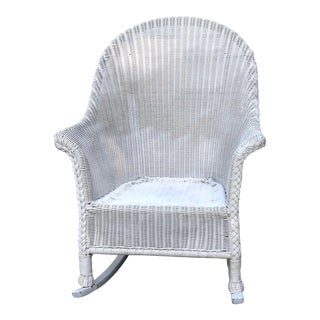 Vintage White Wicker Rocking Chair For Sale