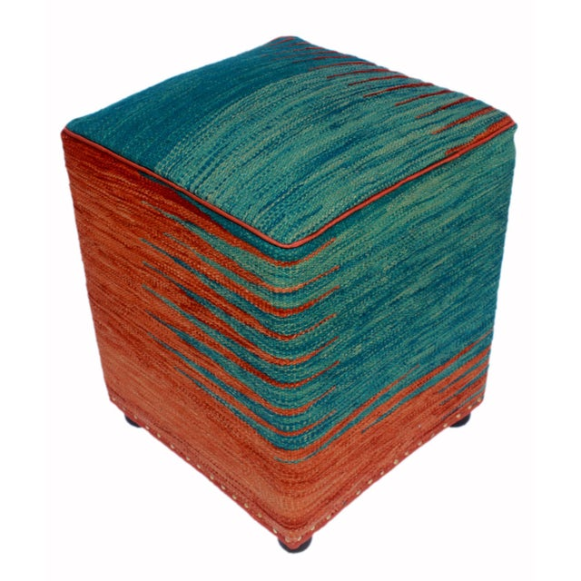 Textile Arshs Dominica Blue/Rust Kilim Upholstered Handmade Ottoman For Sale - Image 7 of 8