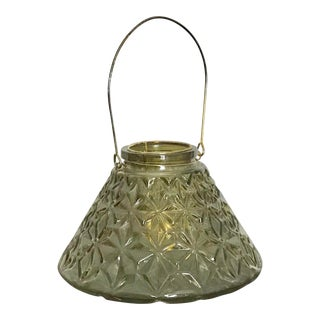 Sage Green Diamond Cut Moroccan Glass Lantern For Sale