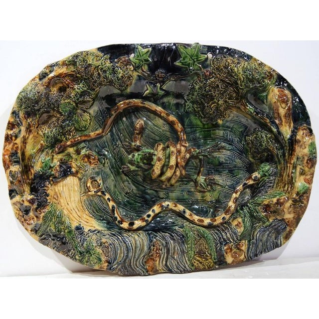 19th Century French Barbotine Hand Painted Majolica Palissy Platters - A Pair - Image 3 of 11