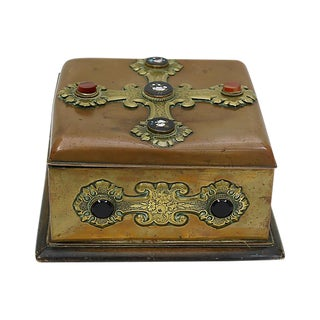 Antique Cathedral Box withCabochon & Micro-Mosaic For Sale