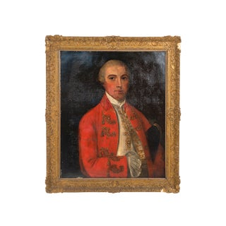 19th Century English Georgian Man in Red Coat Portrait For Sale