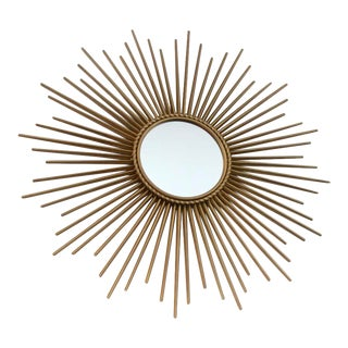 Elegant Gilded Metal Framed Sunburst Mirror by Chaty Vallauris, France 1960s For Sale