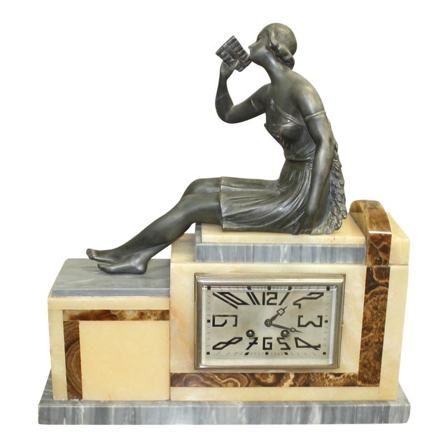 French Art Deco 3-Piece Clock Garniture, Marble with Woman Sitting, Circa 1940s For Sale - Image 11 of 11