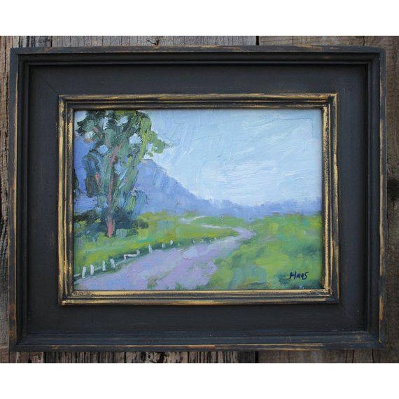 """Metal """"Fence in the Road"""" Oil Landscape Painting For Sale - Image 7 of 7"""