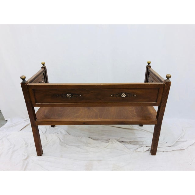 Antique Pearl & Brass Detail Wooden Bench For Sale - Image 9 of 12