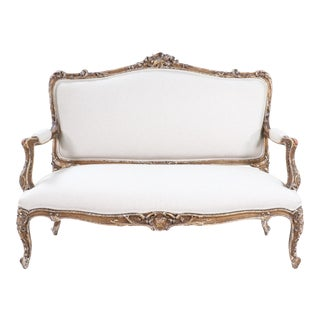 French Louis XV Giltwood Settee For Sale