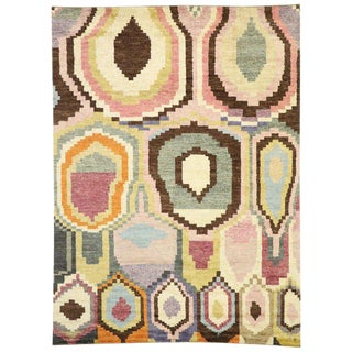 Contemporary Moroccan Rug With Abstract Orphism Style - 10′3″ × 13′11″ For Sale