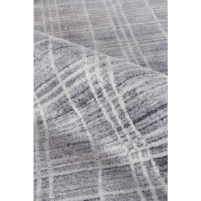 """Not Yet Made - Made To Order Cambridge Hand loom Bamboo/Silk Blue/White Rug-14'x18"""" For Sale - Image 5 of 9"""
