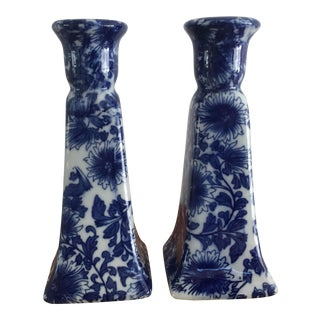 1970s Chinoiserie Blue and White Floral Candle Stick Holders - a Pair For Sale