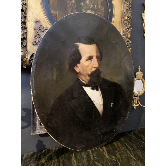 19th-Century Oil on Oval Canvas Portrait Painting For Sale - Image 13 of 13