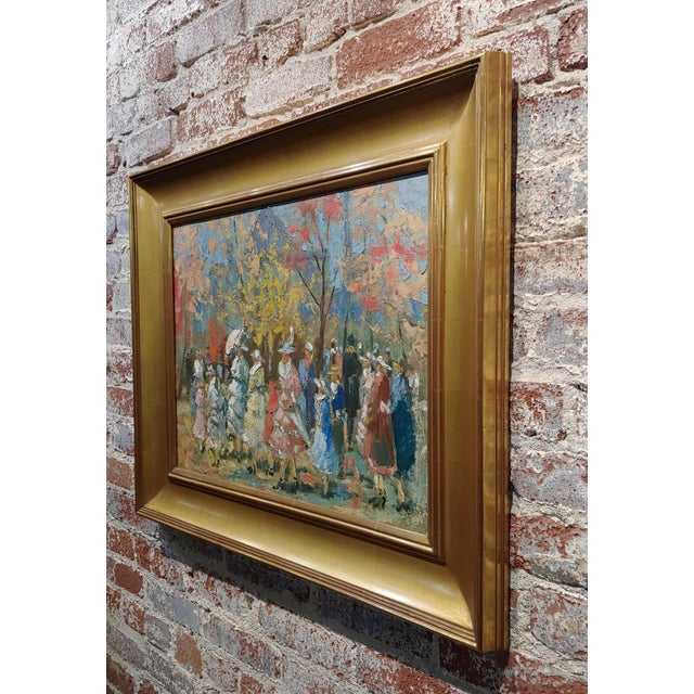 """Blue French Impressionist """"Ladies With Parasol in an Outdoor Party"""" C.1900s For Sale - Image 8 of 10"""