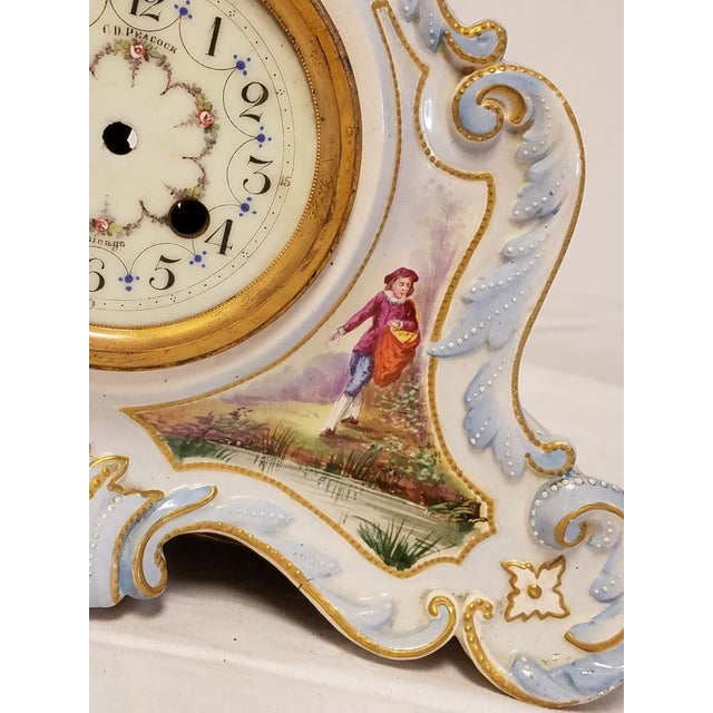 Antique Peabody Porcelain Hand Painted Clock For Sale - Image 5 of 9