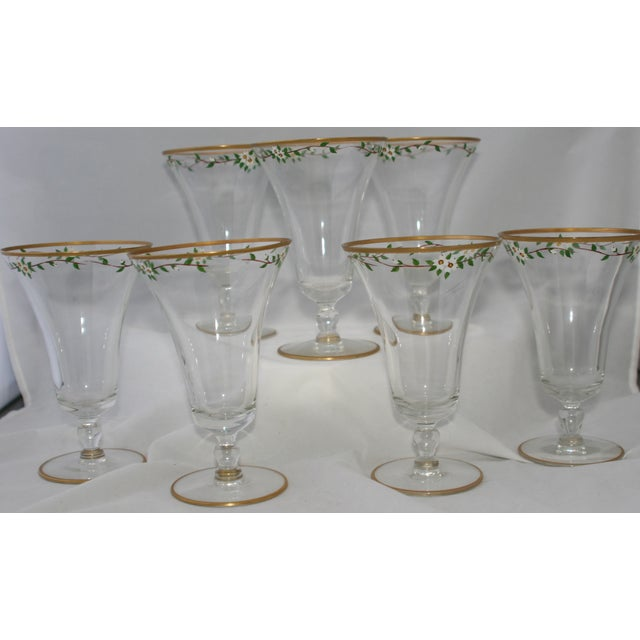 Vintage Hand Painted Footed Water Glasses - S/7 - Image 4 of 4