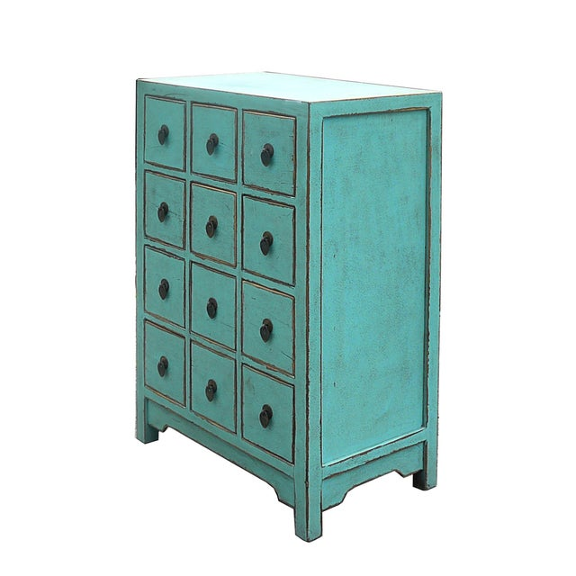 Asian Chinese Rustic Turquoise Cabinet Side Table For Sale - Image 3 of 4