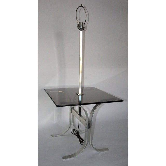 Mid-Century Modern Side Table With Built in Lamp For Sale In Los Angeles - Image 6 of 8