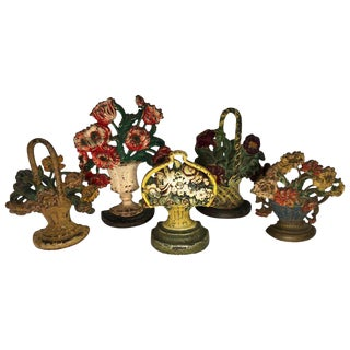 Floral Cast Iron Doorstops or Bookends - Set of 5 For Sale