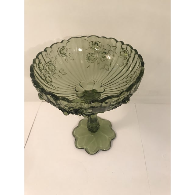 Fenton cabbage rose colonial green footed candy compote bowl. Same day shipping.