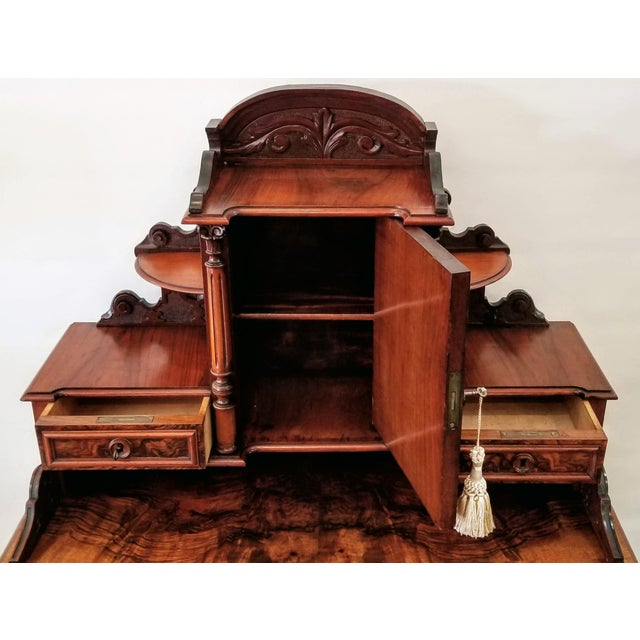 North German Gründerzeit Period Writing Desk in the Form of Historicism With Neoclassic Decoration For Sale - Image 4 of 9