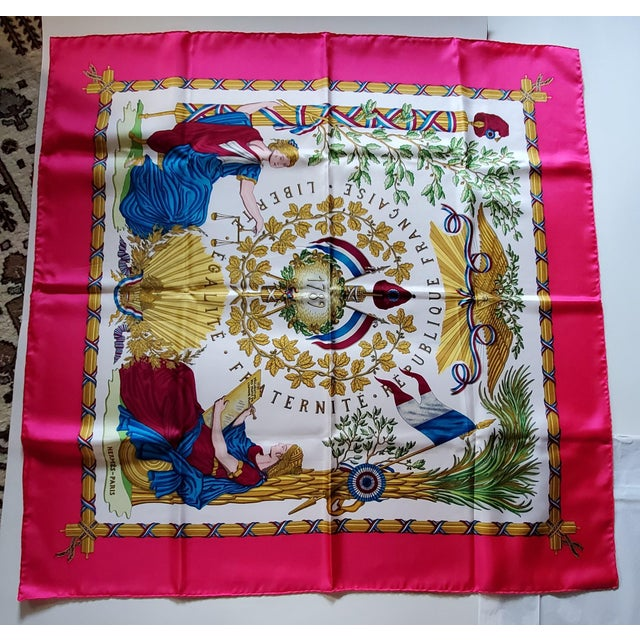 1990 Hermes Scarf With Box, Bag, Receipt, Care Card For Sale - Image 10 of 10