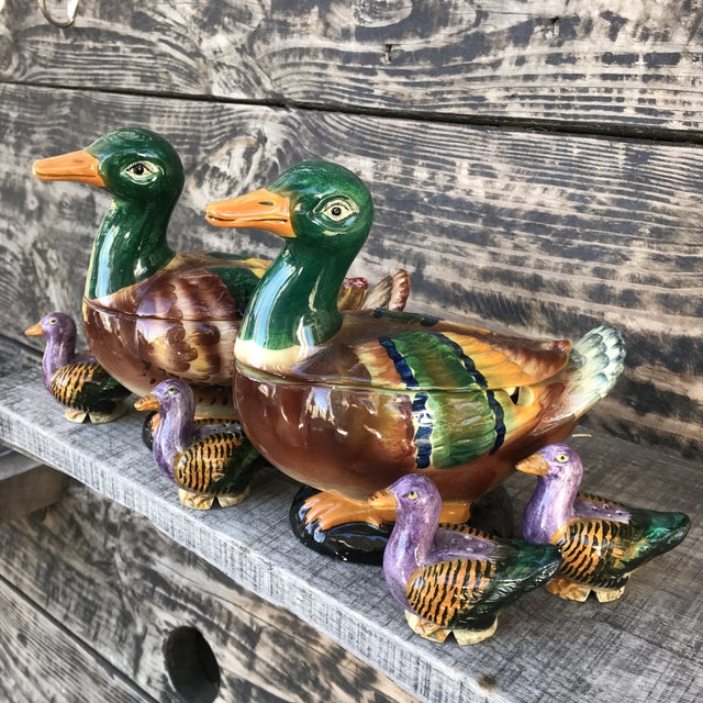 Majolica Italian Hand-Painted Mallard Duck Soup Tureens with Salt & Pepper Shakers Set of 7 For Sale - Image 12 of 13