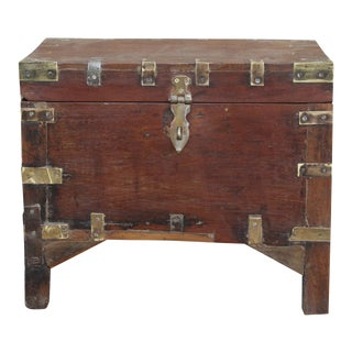 Wooden Brass Bound Campaign Box On Legs For Sale