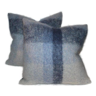 Mohair Pillows in Blues From Vintage Blanket - A Pair For Sale
