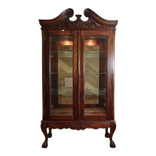 Chippendale / Queen Anne Style Display Cabinet with Ball and Claw Feet For Sale