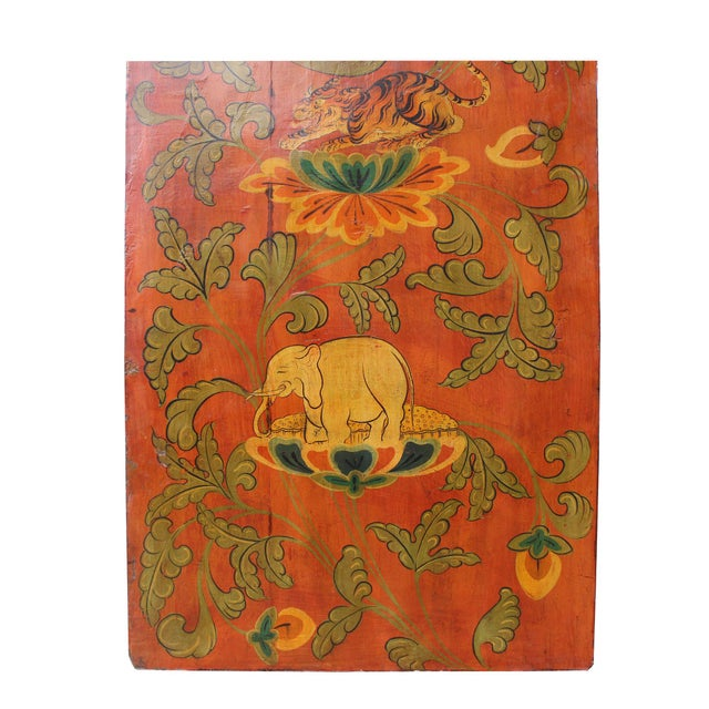Wood Chinese Tibetan Vintage Elephant Tiger Animal Graphic Wood Wall Panel For Sale - Image 7 of 9