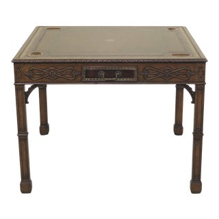 1990s Chippendale Maitland Smith Square Leather Top Games Table For Sale