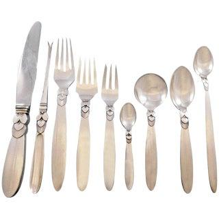 Cactus by Georg Jensen Danish Sterling Silver Flatware Set Dinner Service 122 Piece For Sale