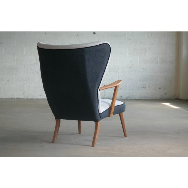 Gray Danish 1950's Lounge Chair Model Pragh With Ottoman by Madsen and Schubell For Sale - Image 8 of 12