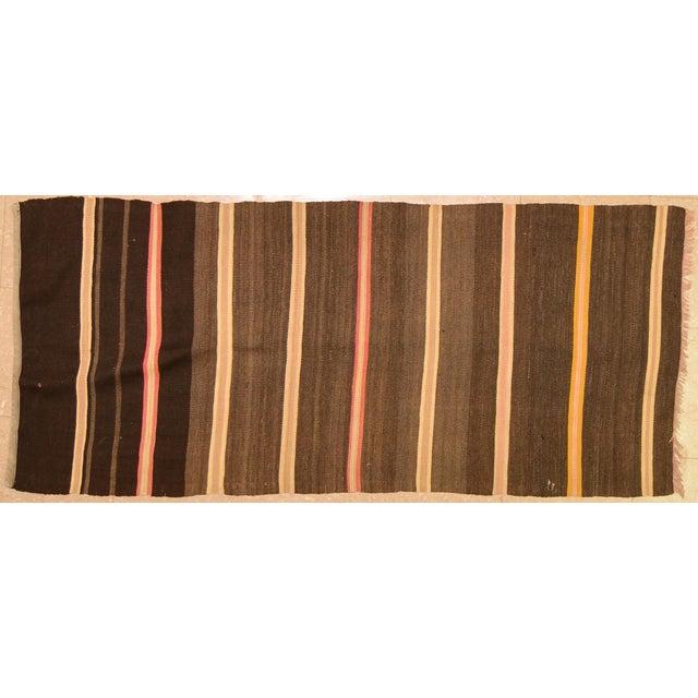 "1950s 1950s Turkish Brown and Burnt Orange Wool Kilim Rug - 2'3""x5'3"" For Sale - Image 5 of 5"