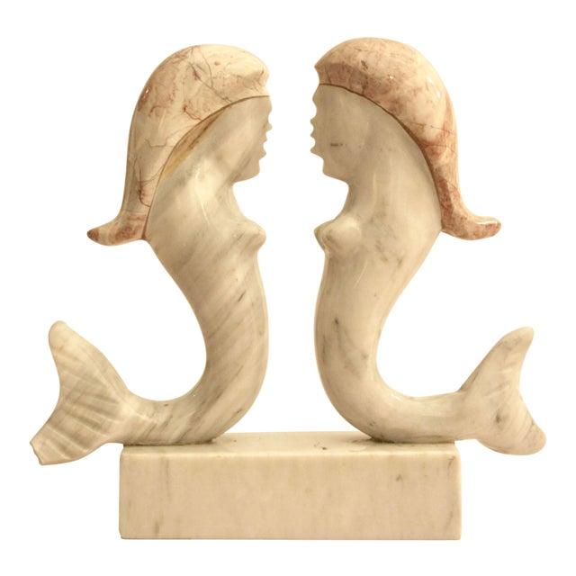 Surrealist Carved Marble Mermaid Sculpture - Image 1 of 7