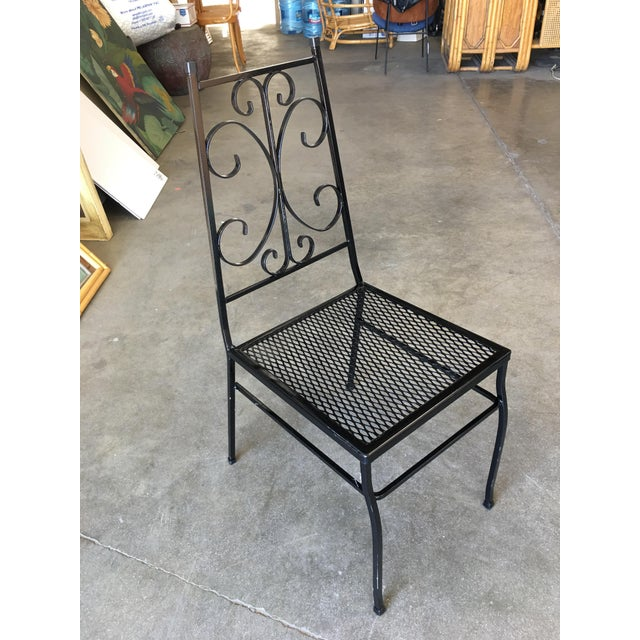 Mid Century Outdoor/Patio Side Chair With Scrolling Pattern - Set of 4 For Sale - Image 4 of 9