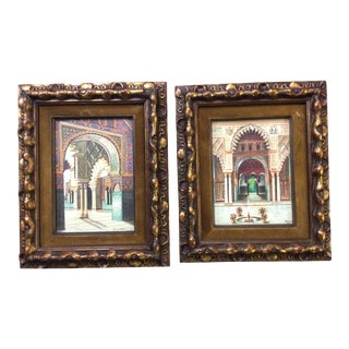1930s Vintage Islamic Architecture Paintings - A Pair For Sale