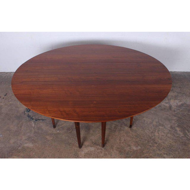 1950s Walnut Drop-Leaf Console Table by Edward Wormley for Dunbar For Sale - Image 5 of 11
