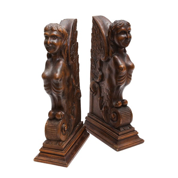 Figurial Walnut Carved Bookends - a Pair For Sale - Image 9 of 11