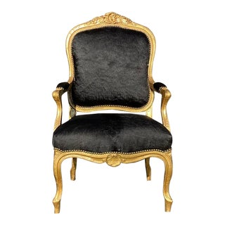 1800's Cow Hide & Gold Leaf Louis XIV Chair For Sale