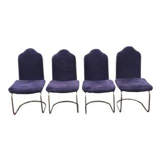 Black Velvet Brass Cantilever Chairs - Set of 4