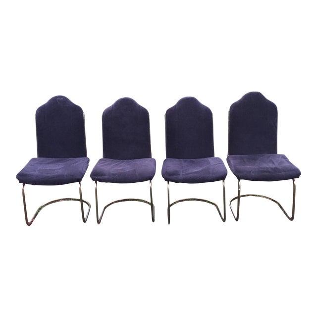 Black Velvet Brass Cantilever Chairs - Set of 4 - Image 1 of 11