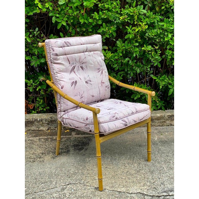 Metal Set of Six Hollywood Regency Faux Bamboo Garden Chairs For Sale - Image 7 of 10