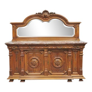 19th Century French Walnut Carved Marble Top Sideboard For Sale