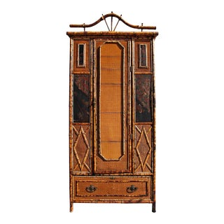 Late 19th Century Victorian Bamboo Seagrass and Chinoiserie Paneled Armoire For Sale