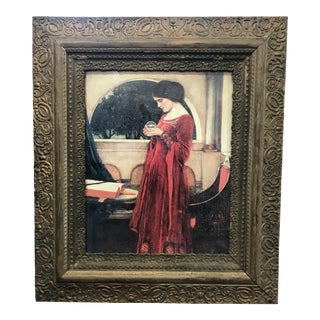 """The Crystal Ball"" Vintage Reproduction Print in Antique Frame For Sale"