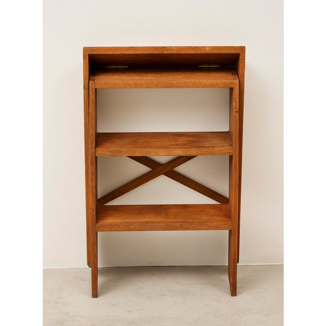 Cabinetmaker's Folding Step Ladder in Teak and Brass, Denmark 1940s For Sale - Image 10 of 11